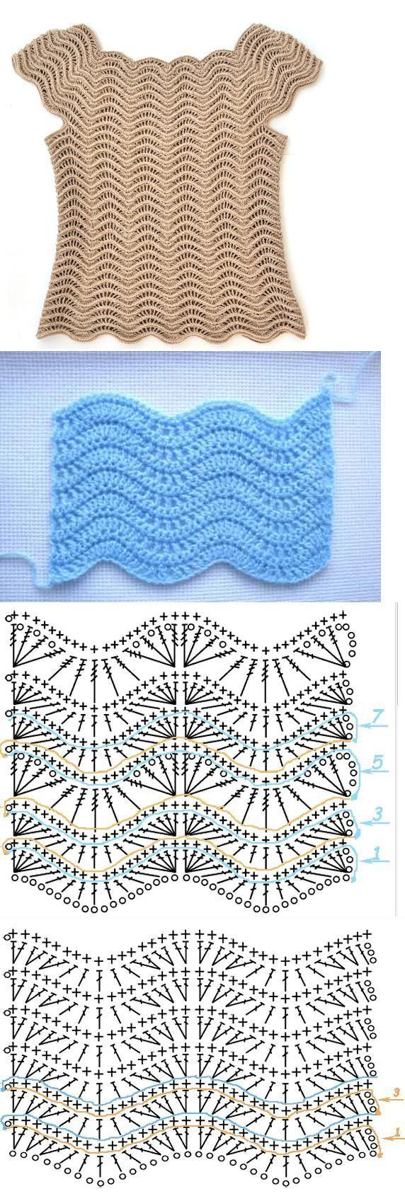 Chorrilho de ideias: Blusa crochet ondulado com esquema grafico