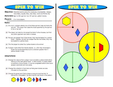 Spin to Win: Probability Games -   Describe events using the vocabulary of probability: always,more likely, equally likely, less likely, never http://www.mathfilefoldergames.com/spin-to-win-probability-games/ #mathgames #probability