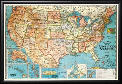 1904 UNITED STATES VINTAGE MAP FRAMED BLACK