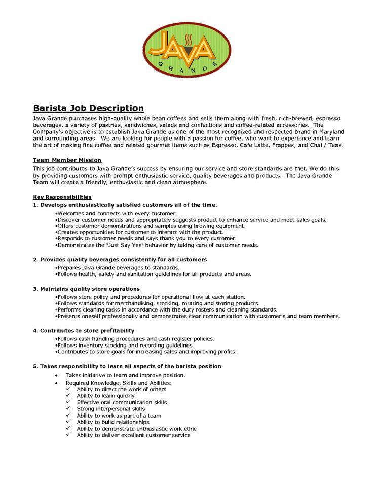Barista Job resume examples, Barista, Job description