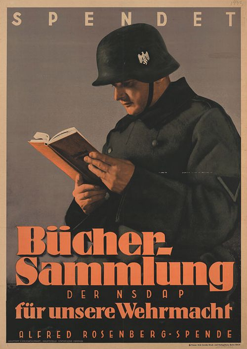 "German WWII propaganda poster with a soldier reading a book with the slogan: ""Donate: Nazi Party book collection for our armed forces."""