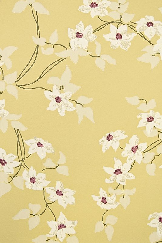 Malleny Floral Wallpaper Floral print wallpaper of delicate flowers and metallic leaves on Yellow background with Fuchsia shocks.