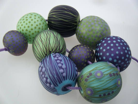 moogin beads detailed large rounds lampwork glass bead set sra
