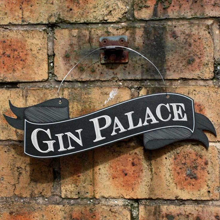 GIN PALACE Scroll Shaped Sign, Outdoor Pub Sign, Garden Sign,Hanging Bar Sign in Home, Furniture & DIY, Home Decor, Plaques & Signs | eBay!
