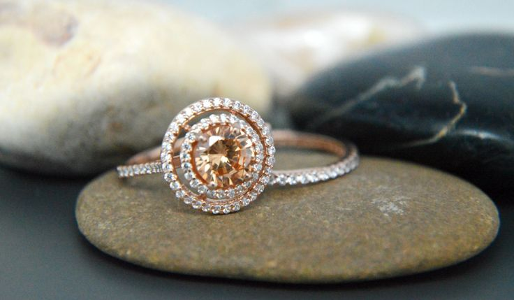 Sterling silver 925 rose gold plated champagne Halo Ring AAAAA grade cubic zirconia bridal set by IsaBellaJewellery on Etsy