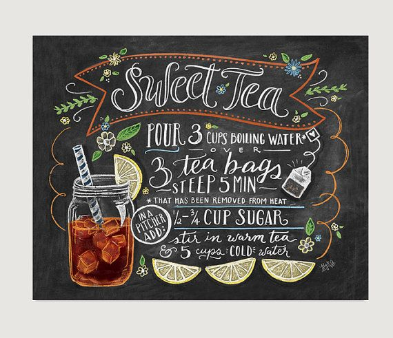 Chalkboard sign Art Print Sweet Tea Recipe Print by LilyandVal