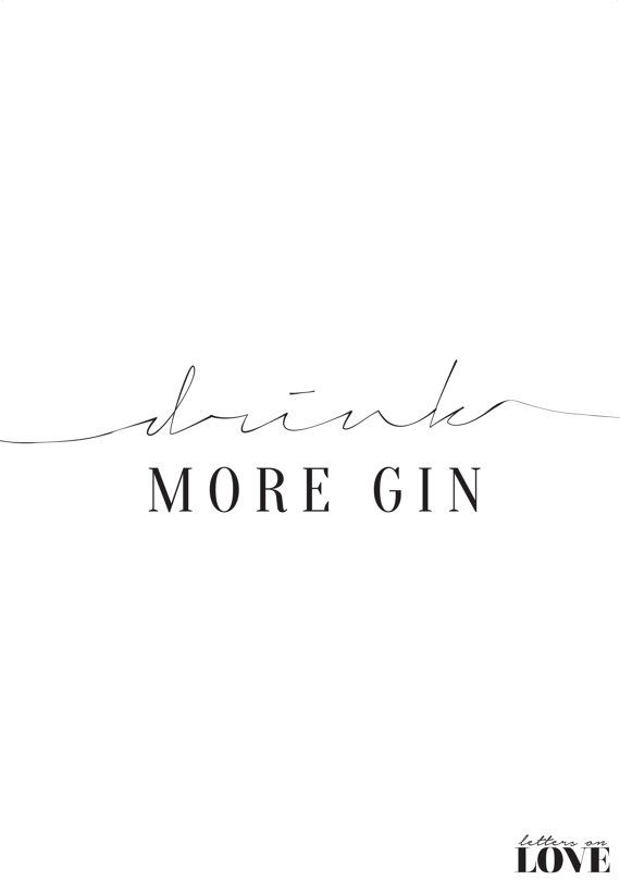 DRink More Gin Typography Poster Kitchen Art by lettersonlove