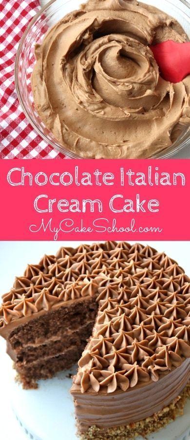 AMAZING Chocolate Italian Cream Cake Recipe with Chocolate Cream Cheese Frosting! Recipe by MyCakeSchool.com