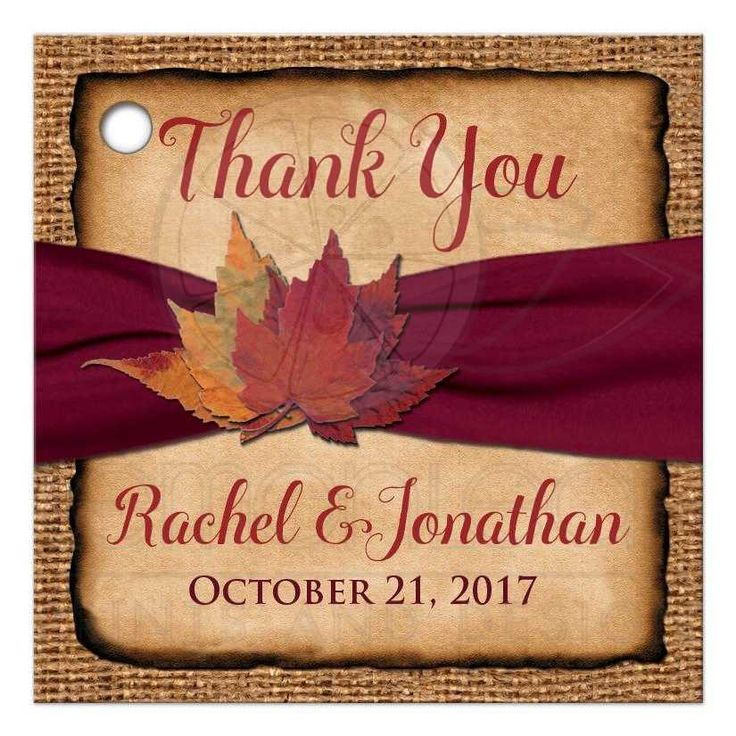 Personalized Rustic Wedding Favor Tag Printed Wine Ribbon Autumn Leaves Faux Burlap