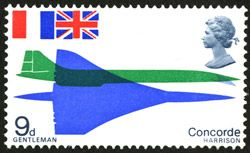 First Flight of Concorde stamp – 9d value, designed by David Gentleman, issued 3 March 1967.