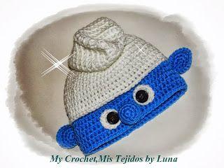 My Crochet , Mis Tejidos: Patron de el Gorro Pitufo :)