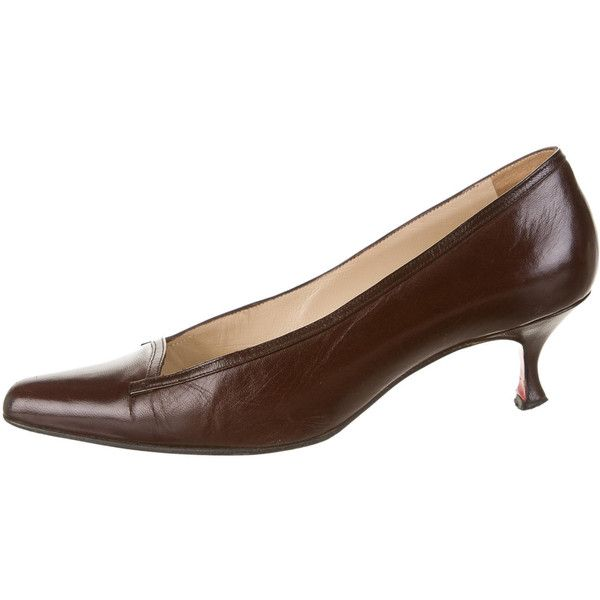 Artesur » christian louboutin leather pumps Brown kitten heels