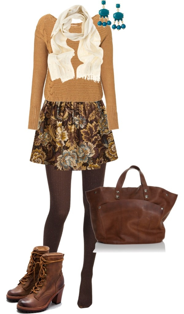 """""""Autumn skater skirt & sweater"""" by debbiedonothing on Polyvore"""