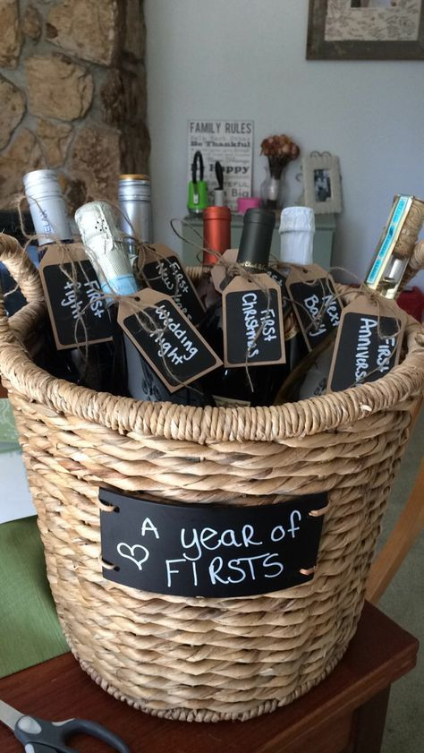 "Creative Bridal Shower Gift - Year of Firsts celebrated with basket of champagne for each ""first""."