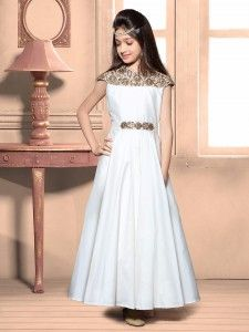 Designer white silk gown