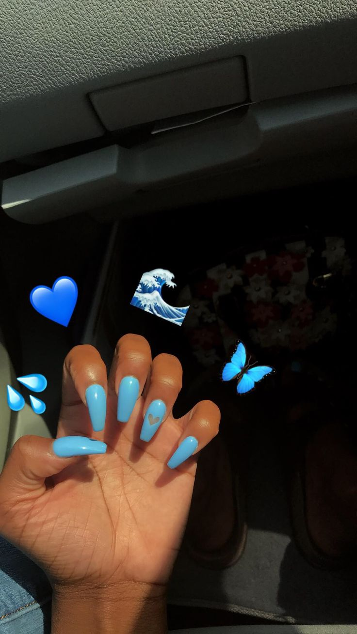 Blue acrylics coffin nails