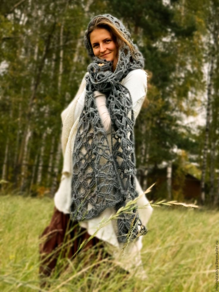 Купить Серый шарф «Спутница Ветра» - темно-серый, шарф, шарф женский, шарф вязаный