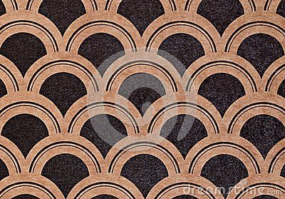 Art deco geometric pattern in brown and black color on paper. Seamless texture for print, gift wrapping, decor design ornament.