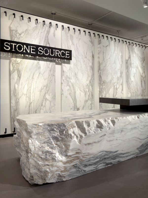 #Office receptionist desk for Stone Source- cool stone desk! #workplace