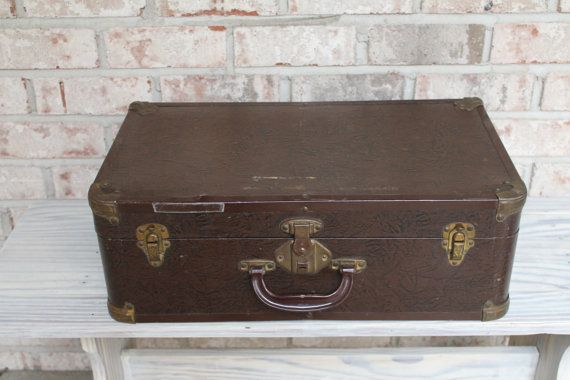 Vintage EXCELSIOR midcentury luggage beautiful brown and ...
