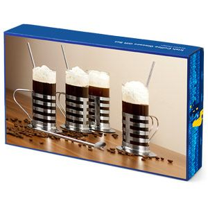 Irish Coffee Glasses Gift Set Striped Design | Irish Coffee Glass Irish Coffee Mugs - Buy at drinkstuff