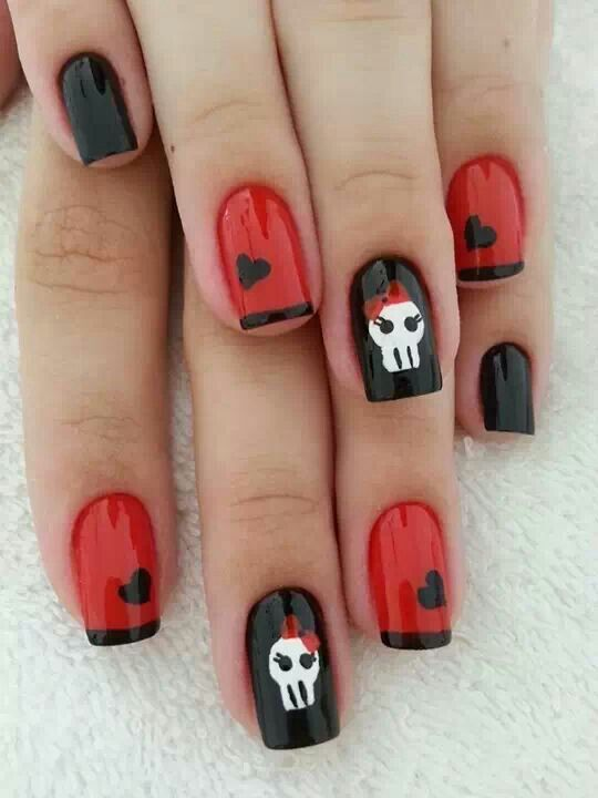 Punk nails with red and black hearts