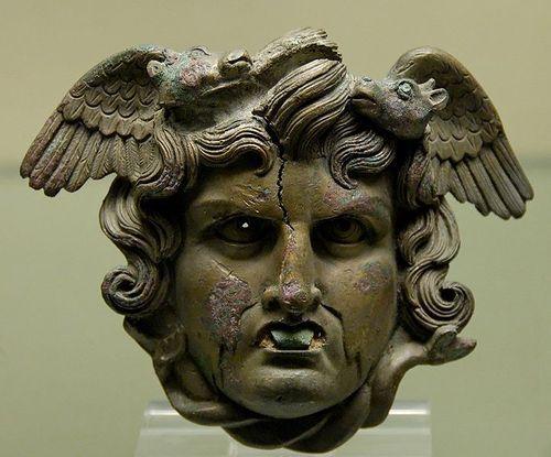 Head of a marine Medusa, Bronze, Roman artwork, ca. 50–75 CE.Ancient Greek, Filehead Medusa, Marines Medusa, British Museum, Romans Artarchitectur, Romans Artworks, File Head Medusa, Ancient Artifacts, Ancient Civil