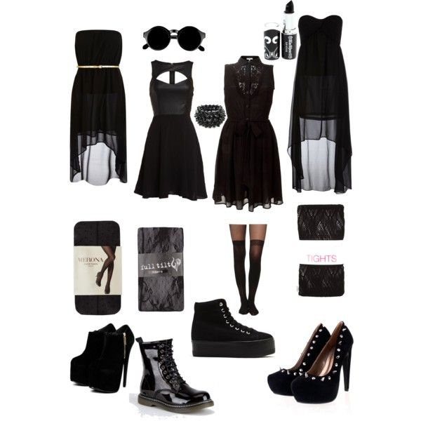 U0026quot;goth/ black dresses outfitsu0026quot; by killahkelsey on Polyvore | clothes | Pinterest
