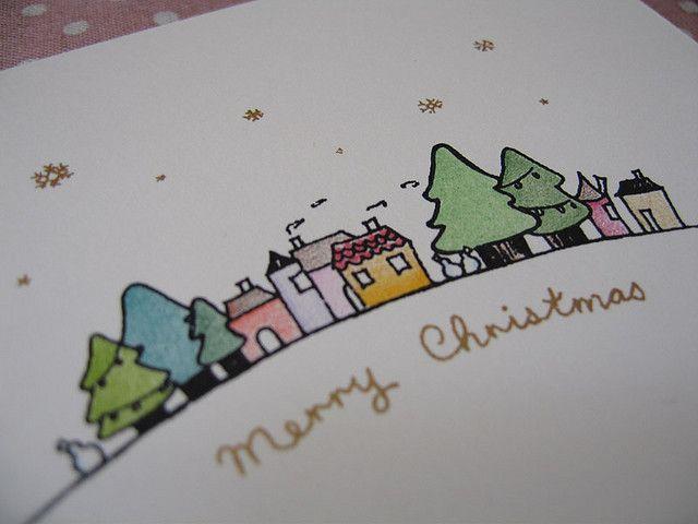Gocco Print & Hand Coloured Christmas Card