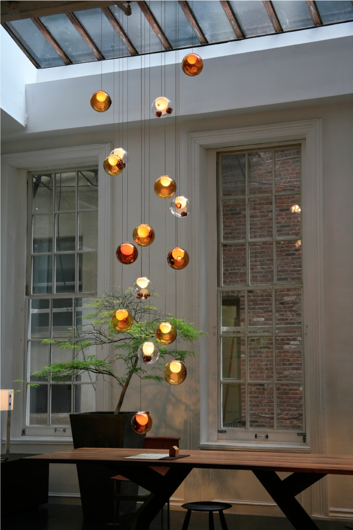 Bocci 28 series chandelier with Amber and Bronze