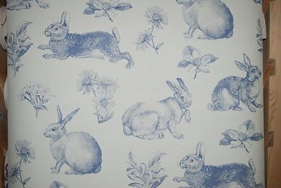 Feature Wall Toile Rabbit Amp Hare Wallpaper In Blue On Ebay