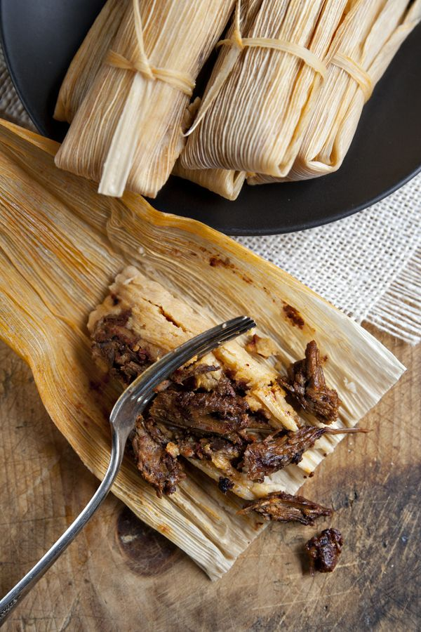 This is what a tamale should look like, super meaty, and even without lots of sauce ,it doesn't look dry. Yum!