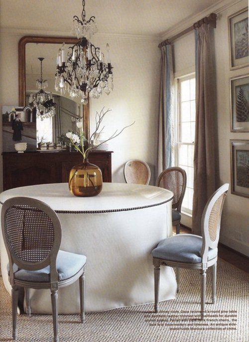 Dining details love the nailhead tablecover interior by for Dining room head chairs