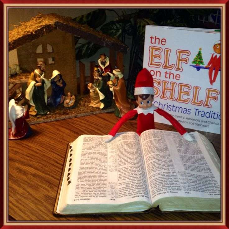 Elf on the shelf delivering scripture to tell Christmas story for the first 24 days of December.