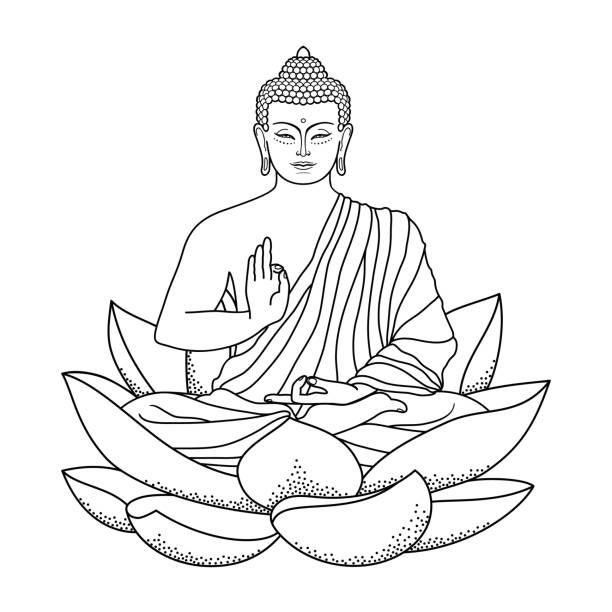 Buddha Illustrations Royalty Free Vector Graphics Clip Art Istock Tattoo Budista Simbolos Indianos Tatuagem Espiritual