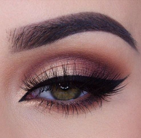 Plum and brown eye makeup