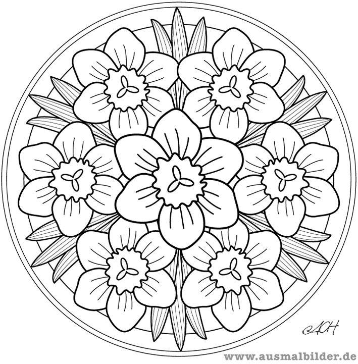 Mandala. Mandala para pintar flores. Mandala for painting flowers