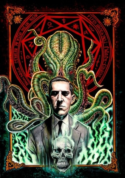 """I look up to H. P. Lovecraft because he is one of the best authors to write down his ideas. He is known for his horror short stories and his most famous """"The Call of Cthulhu"""" which is my favorite story by him. I recently bought this big collection of stories and books. I'm not that far in because of school and other things with friends but one day I'm just going to sit down and just read all of it."""