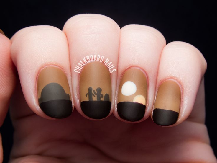 Sunset On Tatooine - Star Wars Nail Art by @chalkboardnails #starwars #anewhope