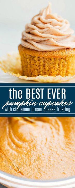 Los mejores pastelitos de calabaza MEJOR NUNCA con un glaseado de queso crema y canela. MI…   – Favorite Cupcakes Recipes