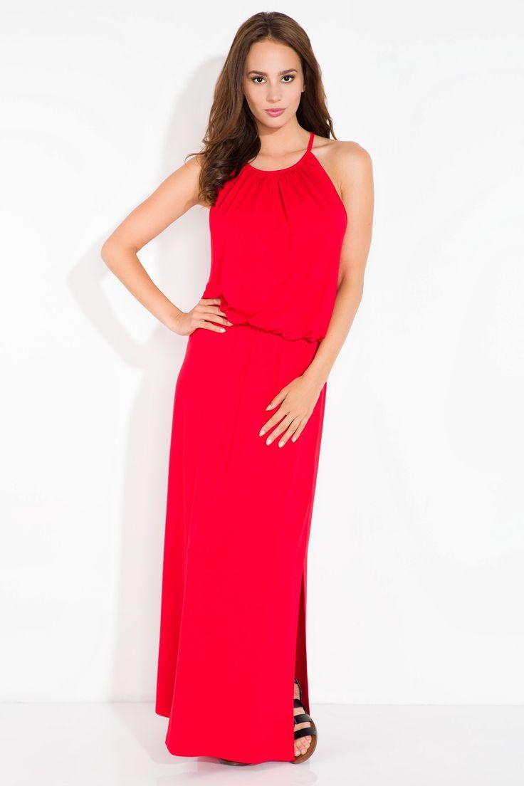 Długa letnia sukienka  w kolorze czerwonym bez rękawków.  Sukienka jest przewiewna z odsłoniętymi plecami.  #modadamska #moda #sukienkikoktajlowe #sukienkiletnie #sukienka #suknia #sukienkiwieczorowe #sukienkinawesele #allettante.pl