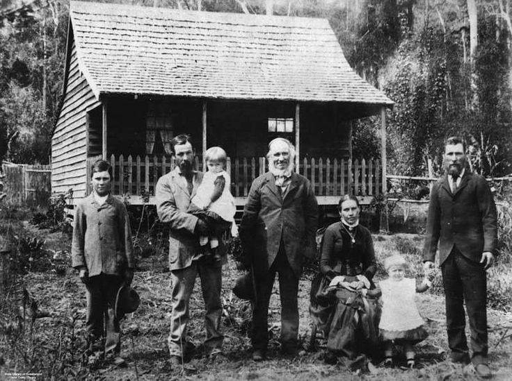 1890 Rosemount Road Nambour. The Perren Family outside the first pit sawn timber house here.