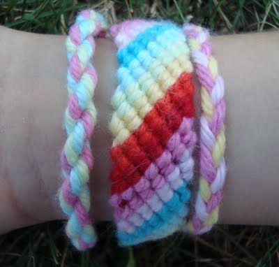 Friendship bracelets with yarn, easier for kids (like my 1st grader)