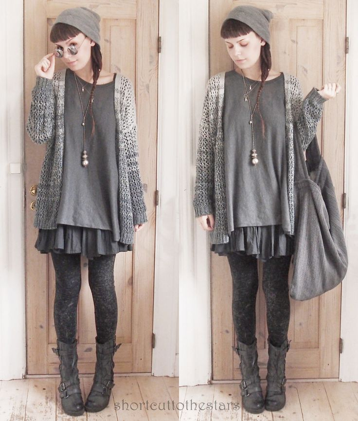shortcuttothestars:  Imma let you all in on a very big secret…I like greyTights from H&MHandmade bagBoots form local shopEverything else is thrifted  Love the cardigan!