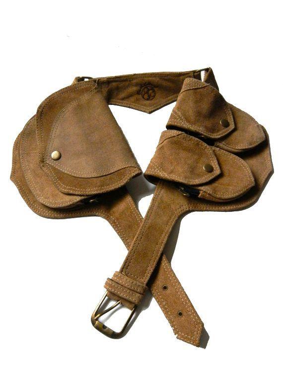 large Leather Utility Belt-beige suede- 5 pockets, travel, burning man, festivals, hands-free style. $85.00, via Etsy.