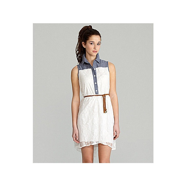 Sapphire Dolls Chambray Lace Shirt Dress   Dillards.com ($69) via Polyvore