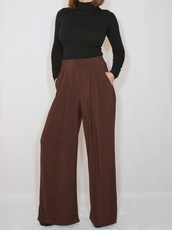 057ee0fa8f1 Brown pants Wide leg pants with pockets Women trousers Chocolate brown  trousers