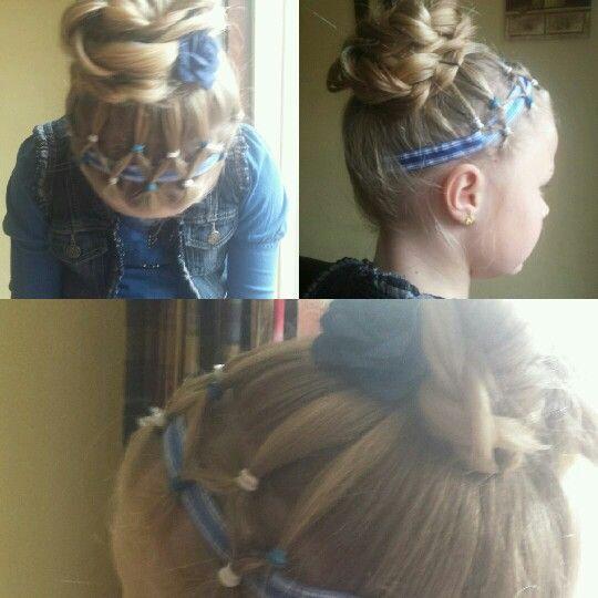 Haarband met elastiekjes en lint
