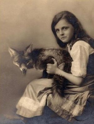 Girl with pet fox - (vintage photo)