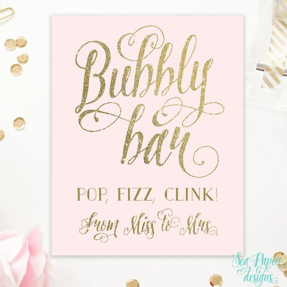 Blush Pink & Gold and Silver Bubbly Bar Sign - Bridal Shower Sign - Printable Instant Download - 8x10